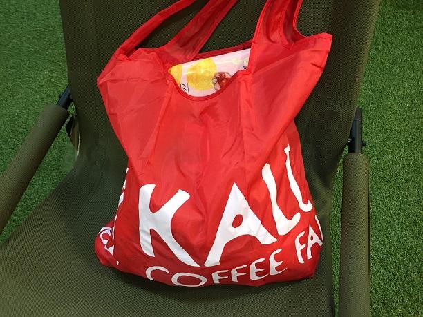 【KALDI】エコバッグレッド☆軽くて持ち運びやすいビビッドな赤いBAG!
